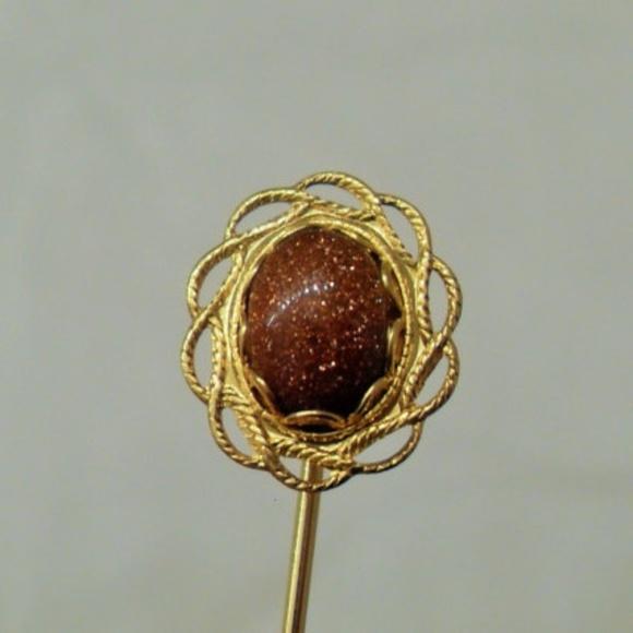 Gold Goldstone Gemstone Stick Pin Brooch, Vintage
